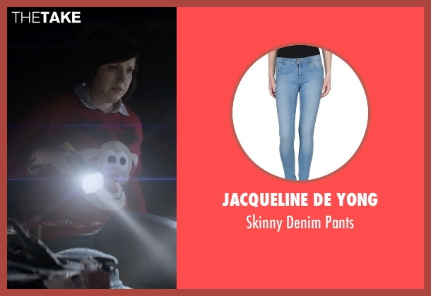 Jacqueline De Yong blue pants from Krampus seen with Allison Tolman (Unknown Character)