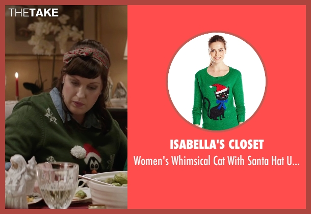 Isabella's Closet green sweater from Krampus seen with Allison Tolman (Unknown Character)