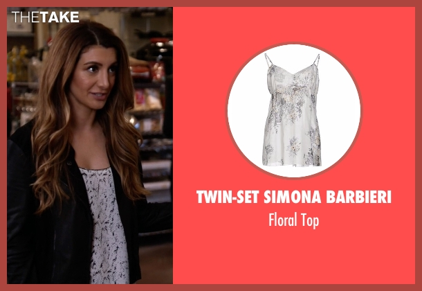 Twin-Set Simona Barbieri white top from New Girl seen with Aly Nelson (Nasim Pedrad)