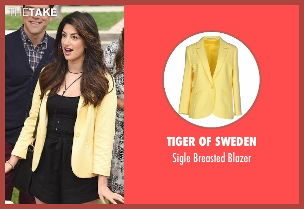 Tiger Of Sweden yellow blazer from New Girl seen with Aly Nelson (Nasim Pedrad)