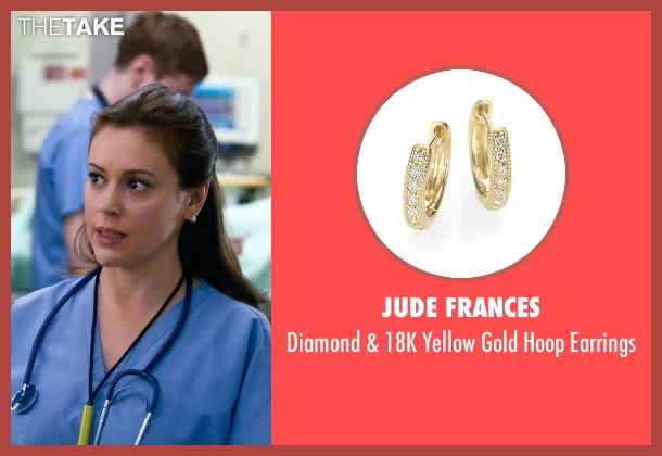 Jude Frances gold earrings from New Year's Eve seen with Alyssa Milano (Nurse Mindy)
