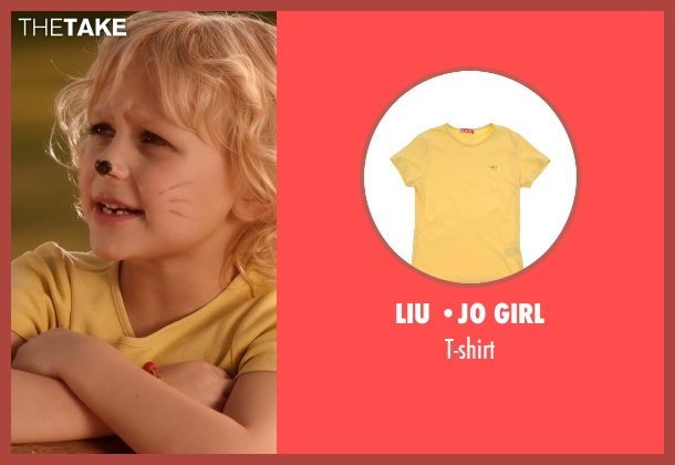 LIU •JO GIRL yellow t-shirt from Blended seen with Alyvia Alyn Lind (Lou Friedman)