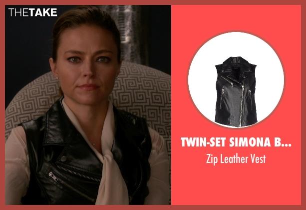 Twin-Set Simona Barbieri black vest from The Good Wife seen with Amanda Marcassin (Trieste Kelly Dunn)