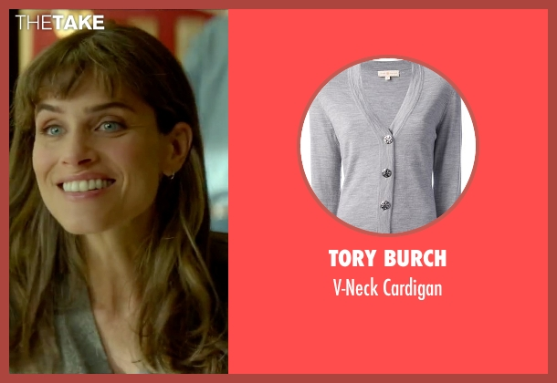 Tory Burch gray cardigan from Sleeping with Other People seen with Amanda Peet (Paula)
