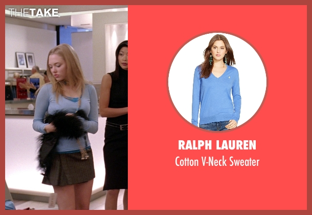 Ralph Lauren blue sweater from Mean Girls seen with Amanda Seyfried (Karen Smith)