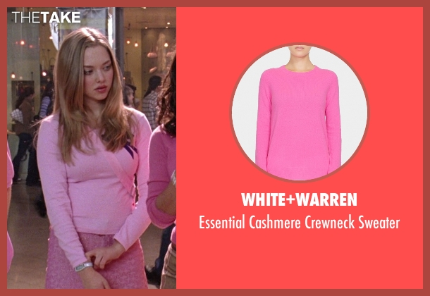 White+Warren pink sweater from Mean Girls seen with Amanda Seyfried (Karen Smith)
