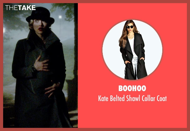 Boohoo black coat from Pan seen with Amanda Seyfried (Mary)