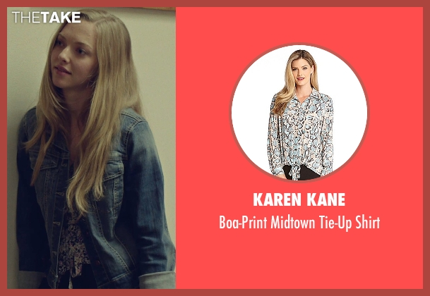 Karen Kane white shirt from While We're Young seen with Amanda Seyfried (Darby)