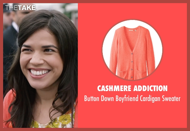 Cashmere Addiction orange sweater from Special Correspondents seen with America Ferrera (Brigida)