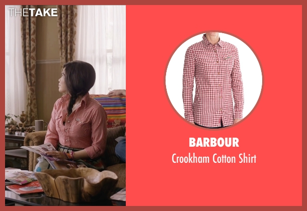 Barbour  red shirt from Special Correspondents seen with America Ferrera (Brigida)