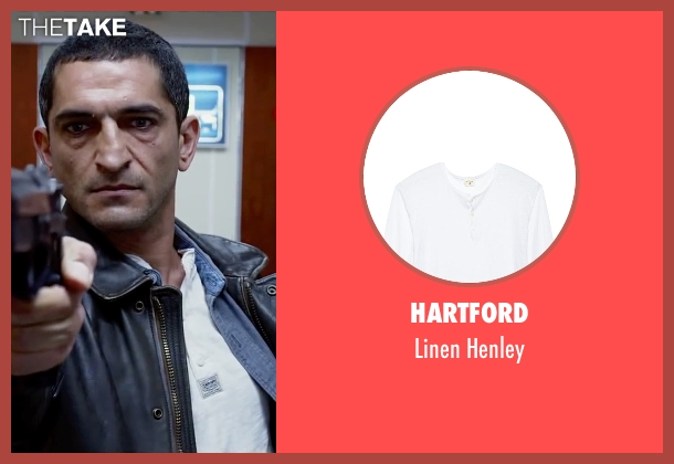 Hartford white henley from Lucy seen with Amr Waked