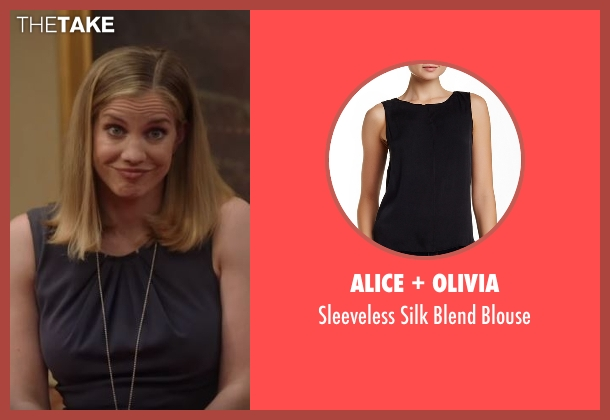 Alice + Olivia black blouse from Veep seen with Amy Brookheimer (Anna Chlumsky)
