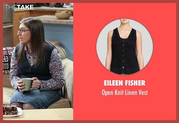 Eileen Fisher black vest from The Big Bang Theory seen with Amy Farrah Fowler (Mayim Bialik)