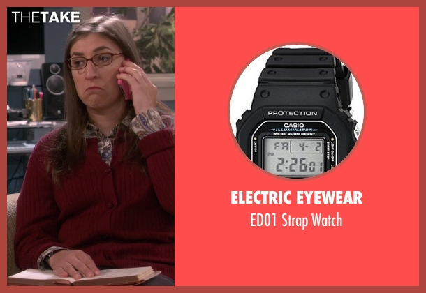 Electric Eyewear black watch from The Big Bang Theory seen with Amy Farrah Fowler (Mayim Bialik)