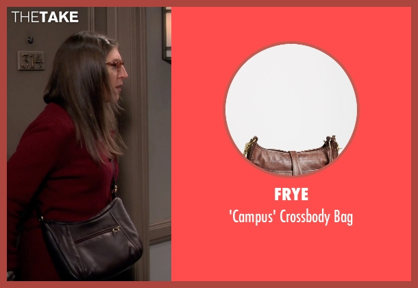 Frye brown bag from The Big Bang Theory seen with Amy Farrah Fowler (Mayim Bialik)