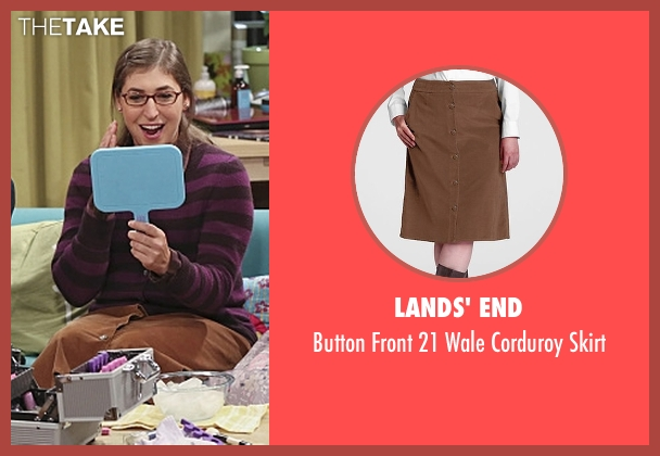 Lands' End brown skirt from The Big Bang Theory seen with Amy Farrah Fowler (Mayim Bialik)