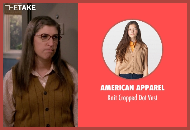 American Apparel brown vest from The Big Bang Theory seen with Amy Farrah Fowler (Mayim Bialik)