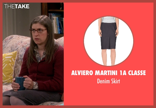 Alviero Martini 1a Classe gray skirt from The Big Bang Theory seen with Amy Farrah Fowler (Mayim Bialik)