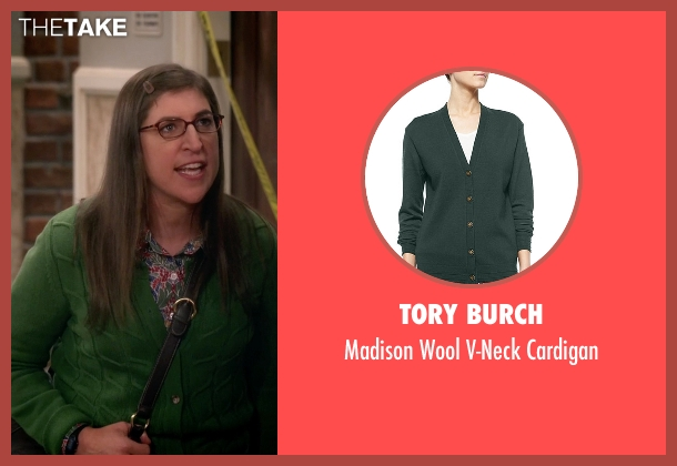 Tory Burch green cardigan from The Big Bang Theory seen with Amy Farrah Fowler (Mayim Bialik)