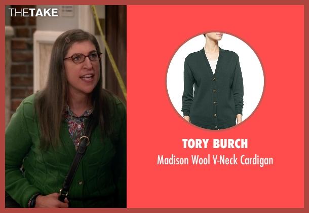 Tory Burch green cardigan from The Big Bang Theory seen with Amy Farrah Fowler (Mayim Bialik)