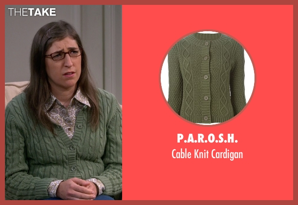 P.A.R.O.S.H. green cardigan from The Big Bang Theory seen with Amy Farrah Fowler (Mayim Bialik)