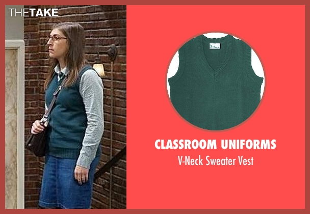 Classroom Uniforms green vest from The Big Bang Theory seen with Amy Farrah Fowler (Mayim Bialik)