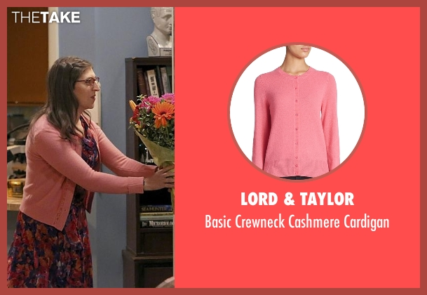 Lord & Taylor pink cardigan from The Big Bang Theory seen with Amy Farrah Fowler (Mayim Bialik)