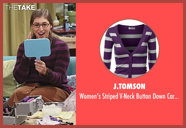 J.Tomson purple cardigan from The Big Bang Theory seen with Amy Farrah Fowler (Mayim Bialik)