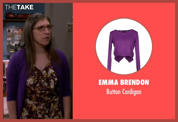 Emma Brendon purple cardigan from The Big Bang Theory seen with Amy Farrah Fowler (Mayim Bialik)