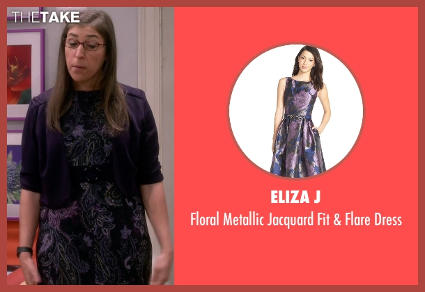 Eliza J purple dress from The Big Bang Theory seen with Amy Farrah Fowler (Mayim Bialik)