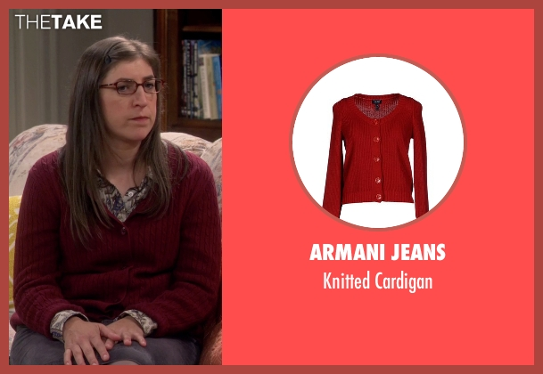 Armani Jeans red cardigan from The Big Bang Theory seen with Amy Farrah Fowler (Mayim Bialik)