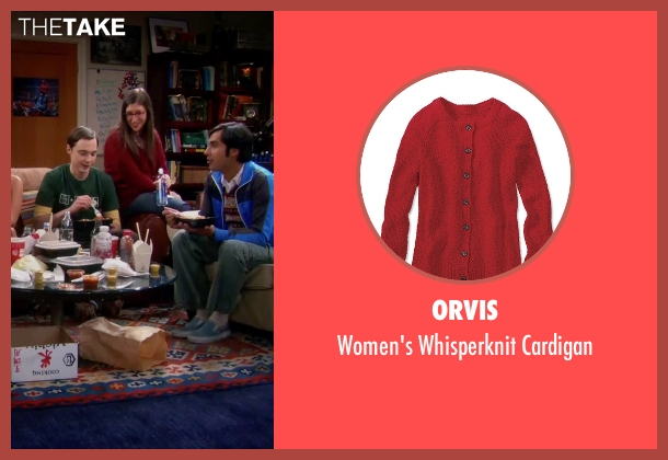 Orvis red cardigan from The Big Bang Theory seen with Amy Farrah Fowler (Mayim Bialik)