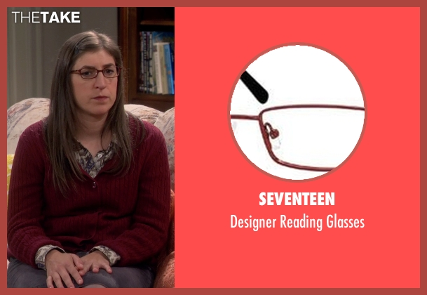 Seventeen red glasses from The Big Bang Theory seen with Amy Farrah Fowler (Mayim Bialik)