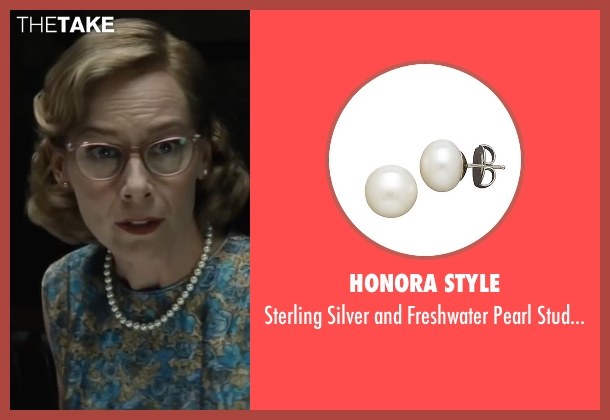 Honora Style white earrings from Bridge of Spies seen with Amy Ryan (Mary Donovan)