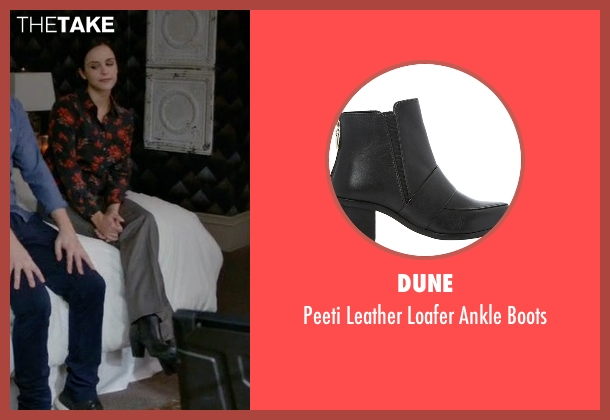 Dune black boots from Brooklyn Nine-Nine seen with Amy Santiago  (Melissa Fumero)