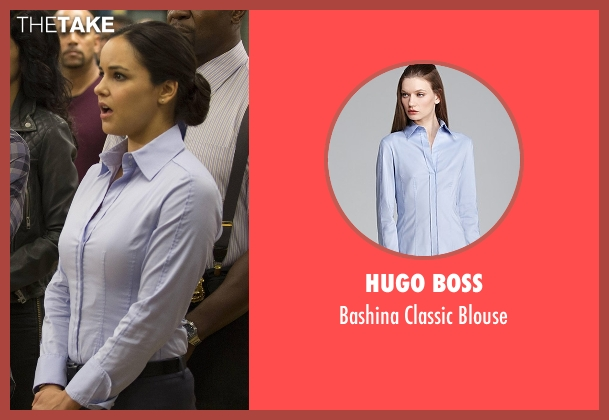 Hugo Boss blue blouse from Brooklyn Nine-Nine seen with Amy Santiago  (Melissa Fumero)