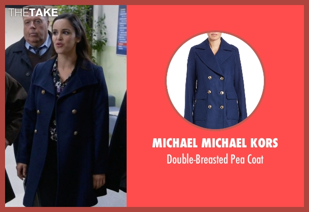 Michael Michael Kors blue coat from Brooklyn Nine-Nine seen with Amy Santiago  (Melissa Fumero)