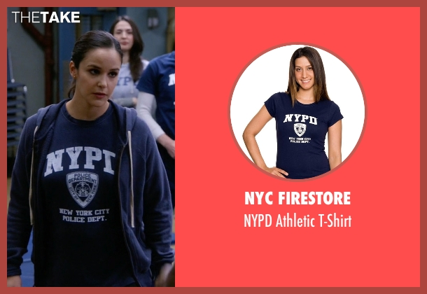 NYC Firestore blue t-shirt from Brooklyn Nine-Nine seen with Amy Santiago  (Melissa Fumero)