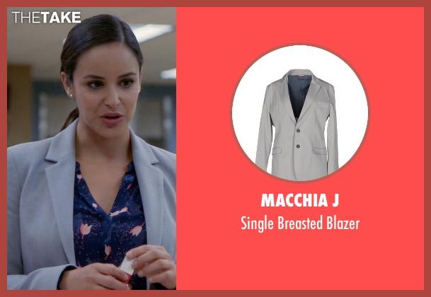 Macchia J gray blazer from Brooklyn Nine-Nine seen with Amy Santiago  (Melissa Fumero)