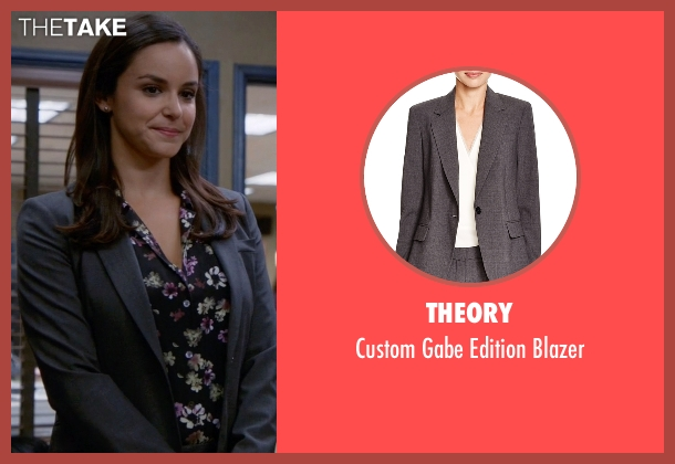 Theory gray blazer from Brooklyn Nine-Nine seen with Amy Santiago  (Melissa Fumero)