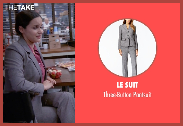 Le Suit gray pantsuit from Brooklyn Nine-Nine seen with Amy Santiago  (Melissa Fumero)