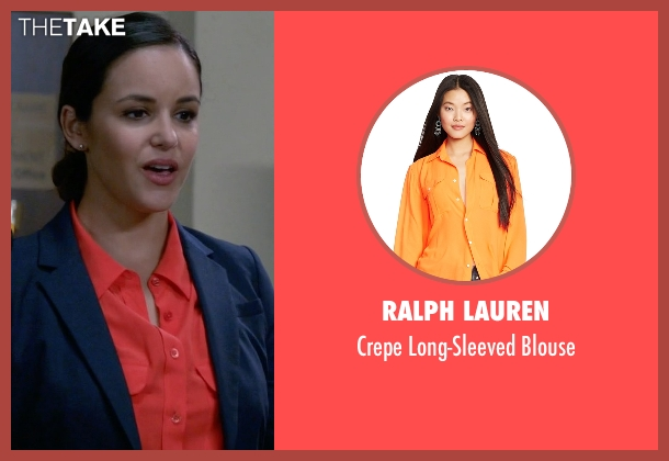 Ralph Lauren orange blouse from Brooklyn Nine-Nine seen with Amy Santiago  (Melissa Fumero)