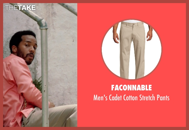 Faconnable beige pants from Black or White seen with André Holland (Reggie Davis)
