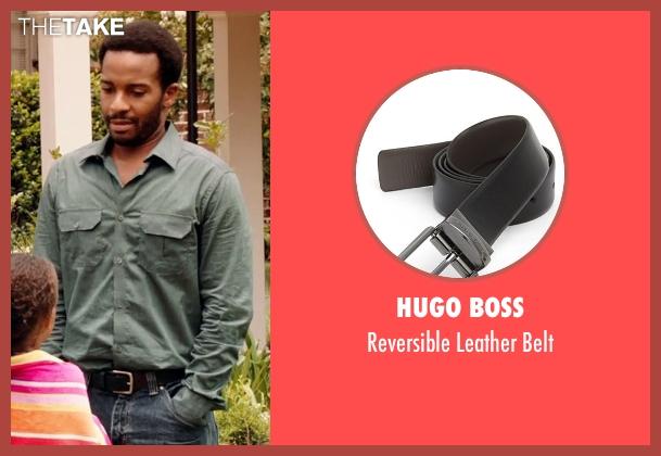 Hugo Boss black belt from Black or White seen with André Holland (Reggie Davis)