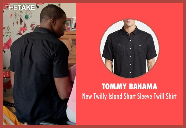 Tommy Bahama black shirt from Black or White seen with André Holland (Reggie Davis)