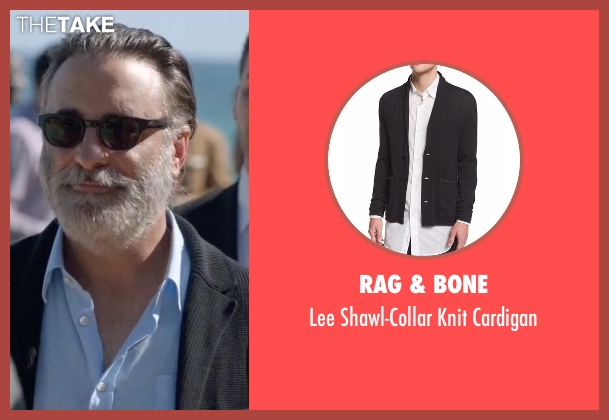 Rag & Bone black cardigan from Ballers seen with Andre Allen (Andy Garcia)