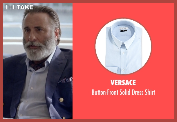 Versace blue shirt from Ballers seen with Andre Allen (Andy Garcia)