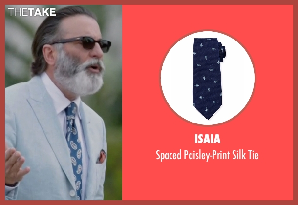 Isaia blue tie from Ballers seen with Andre Allen (Andy Garcia)