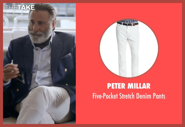 Peter Millar white pants from Ballers seen with Andre Allen (Andy Garcia)