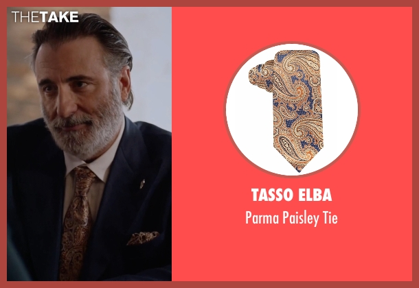 Tasso Elba yellow tie from Ballers seen with Andre Allen (Andy Garcia)